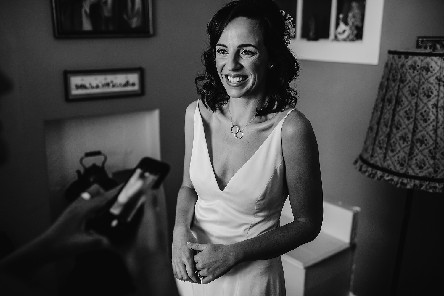 smiling bride in dress