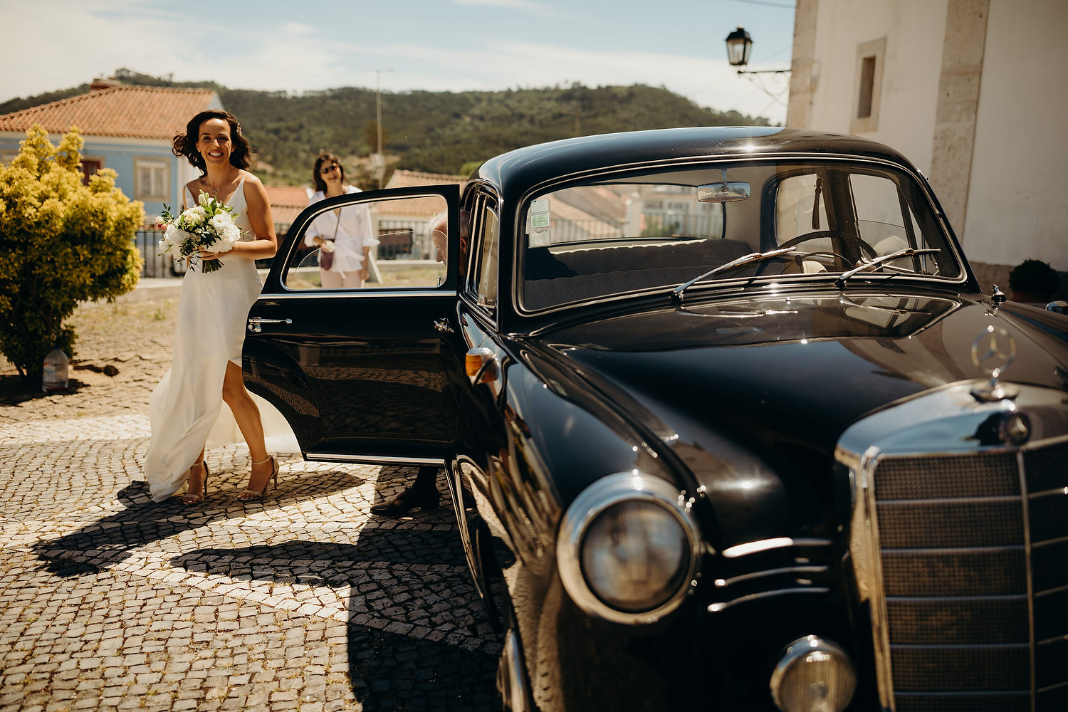 bride arriving in vintage mercedes