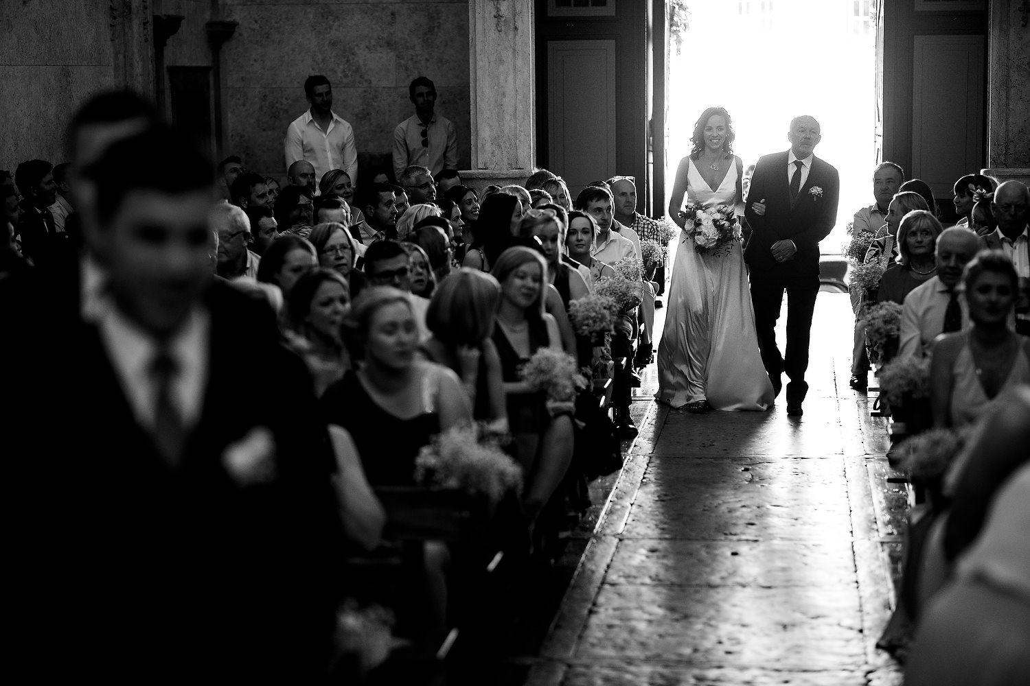 bride walking down aisle