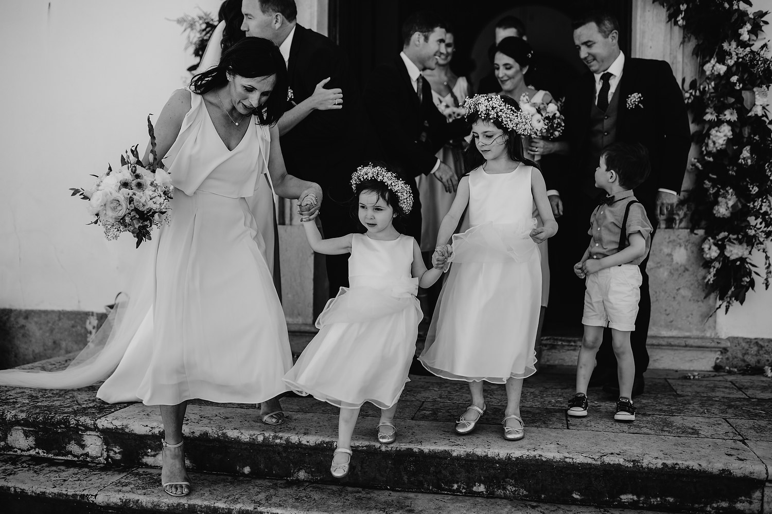 flower girls leaving church