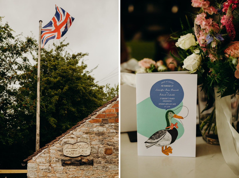 British flag waves at house wedding