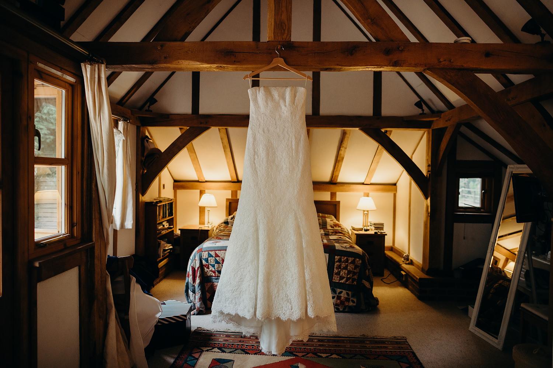 Stewart Parvin wedding dress hanging