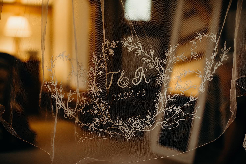 stitching in wedding veil
