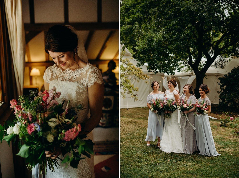 bride with bridesmaids in garden marquee wedding