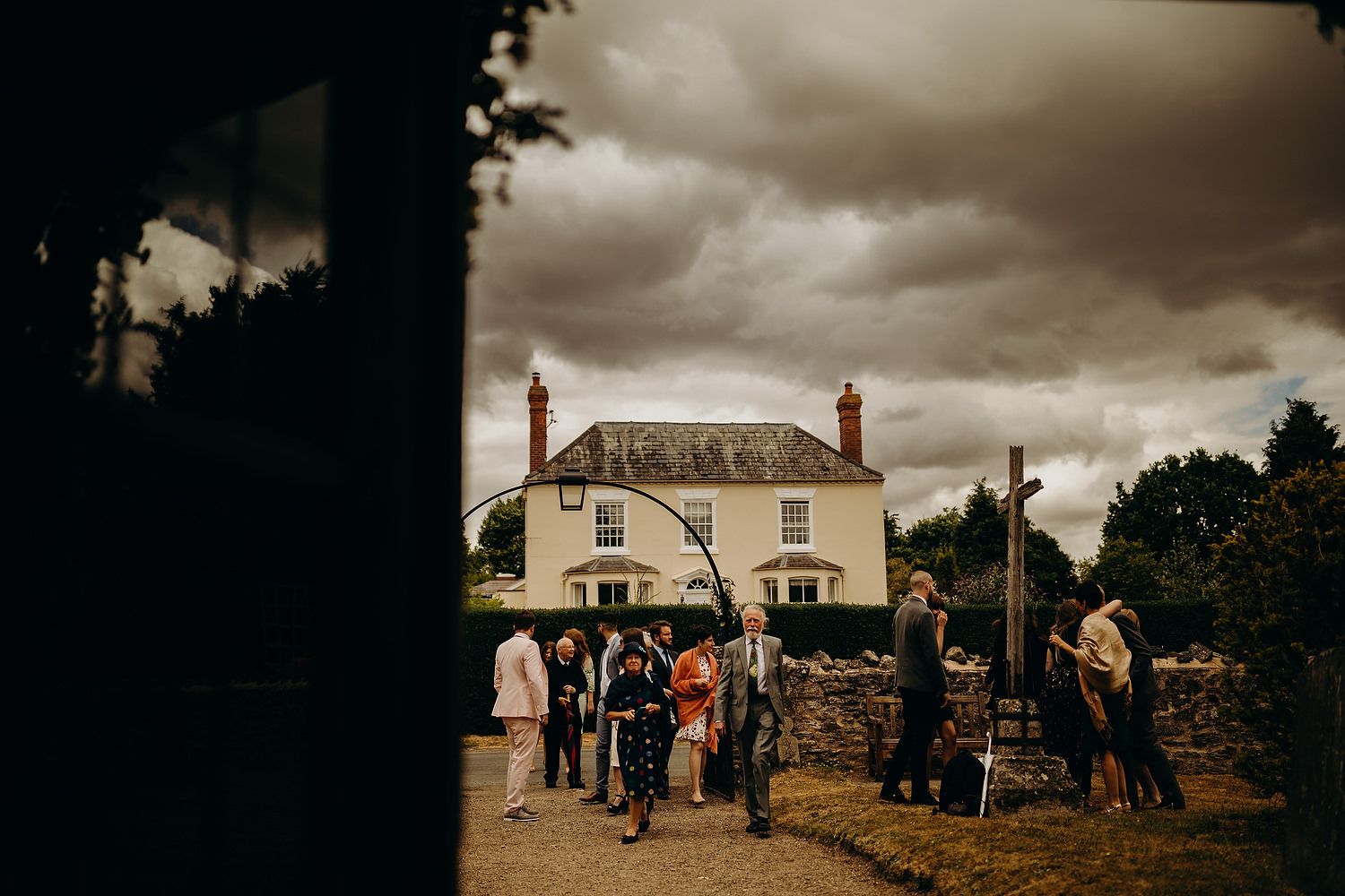 guests arriving at church wedding in castlemorton