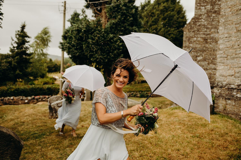 windy and rainy wedding