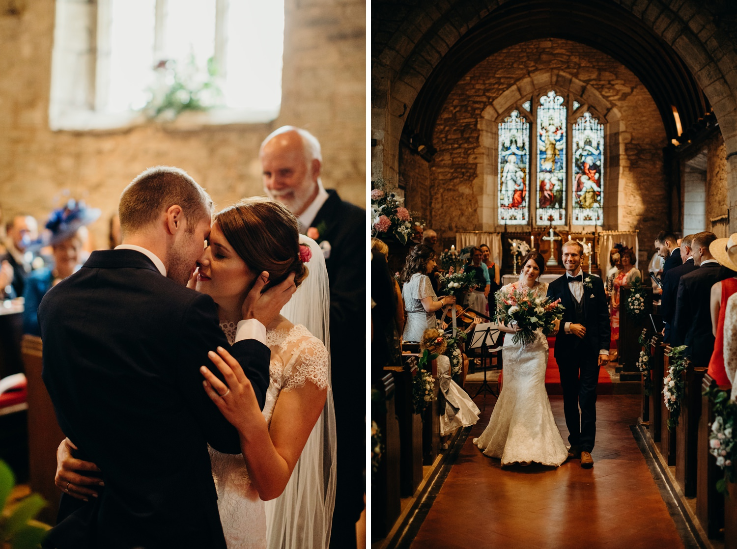 first kiss after church wedding in Castlemorton