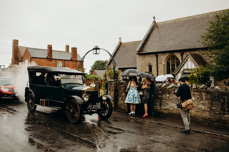 rainy church wedding