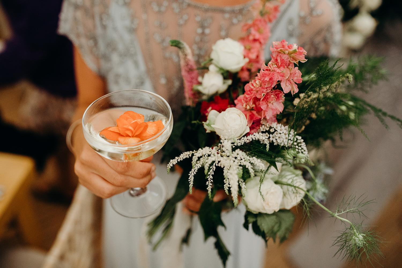 petals in cocktails
