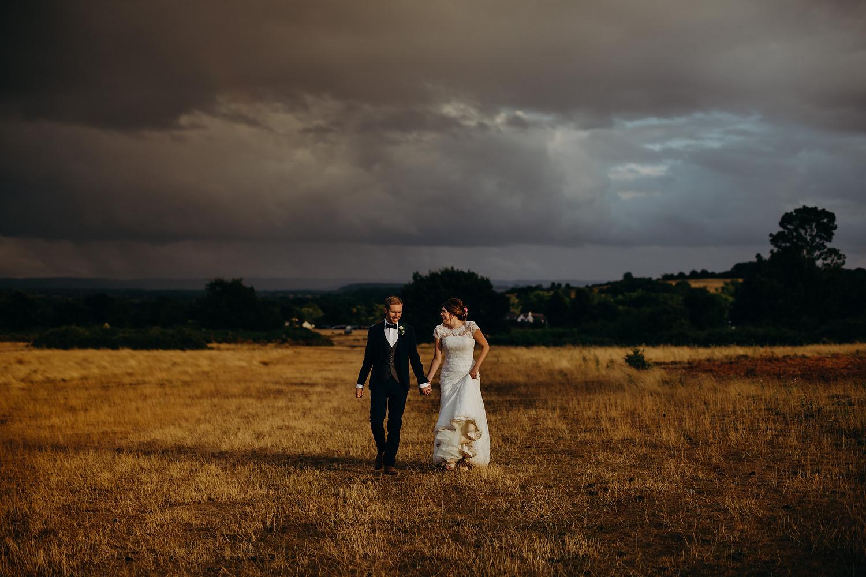moody skies at rainy wedding