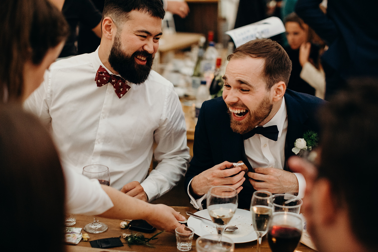 guests laughing at wedding breakfast