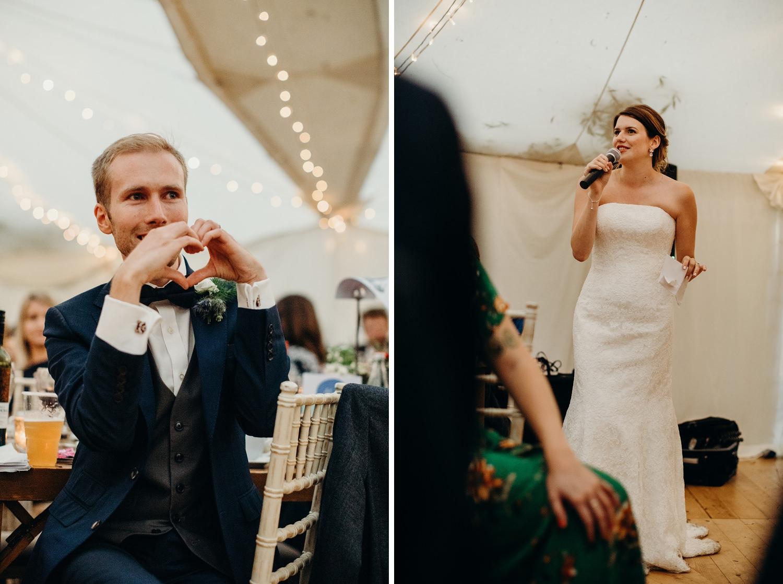 bride speech at marquee wedding