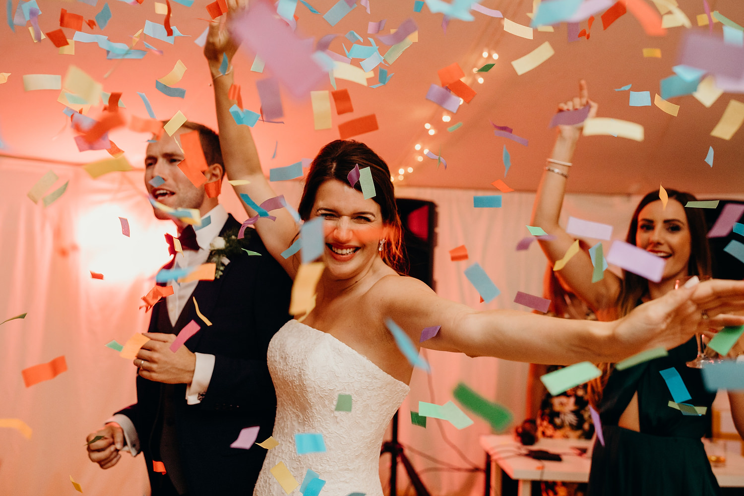 Confetti Cannons at wedding first dance