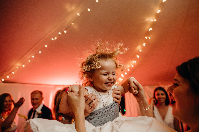 Girl enjoying marquee dancefloor