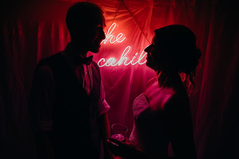 neon lights at wedding