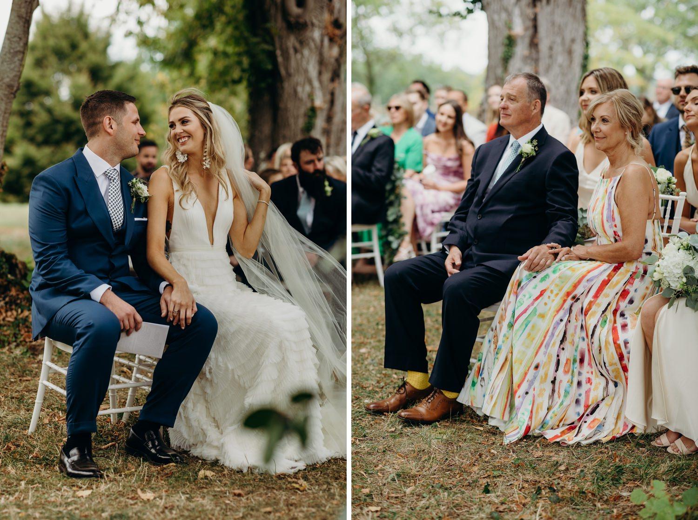 bride looks at groom during wedding
