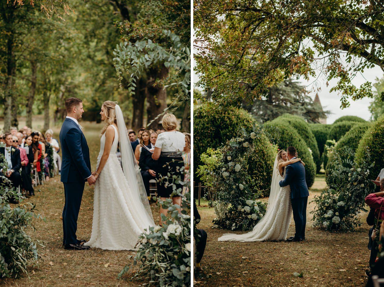 outdoor woodland wedding ceremony
