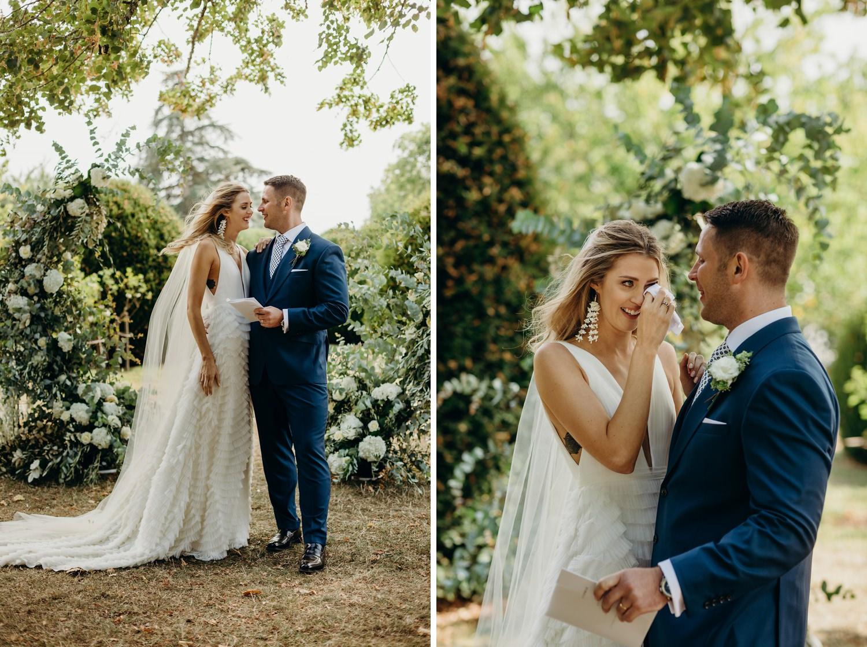 bride cries during ceremony