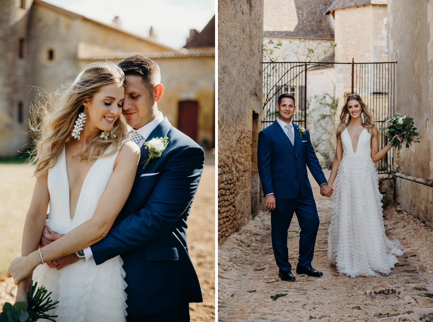 bride and groom at chateau d'Urval wedding