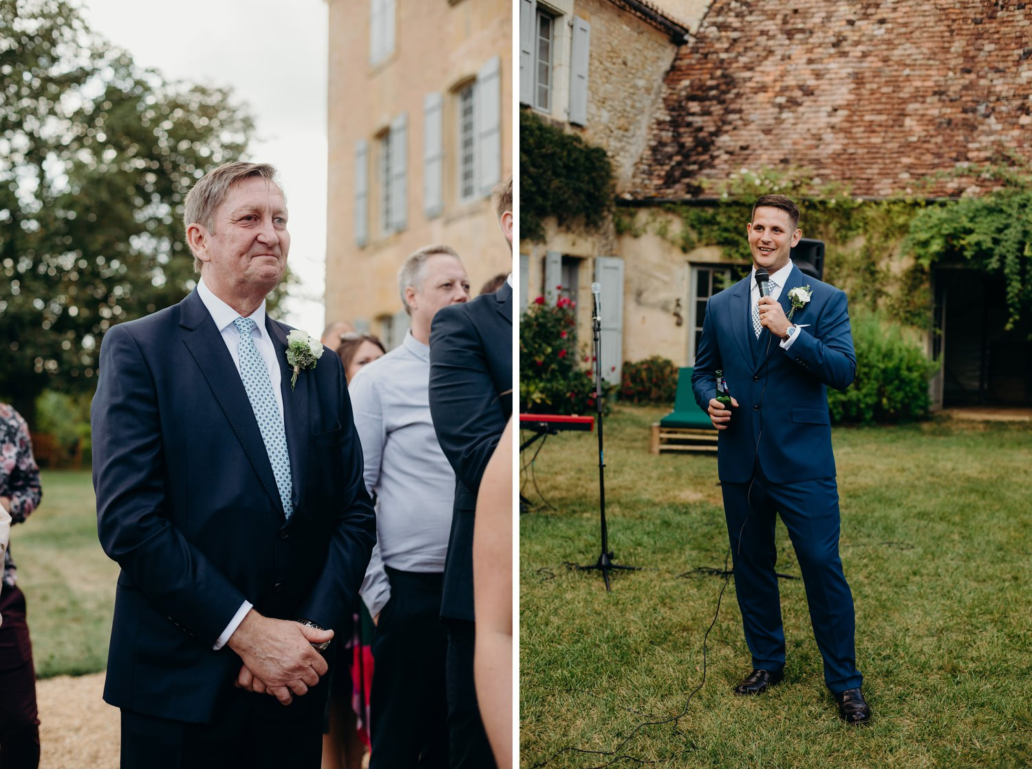 groom and father during speeches