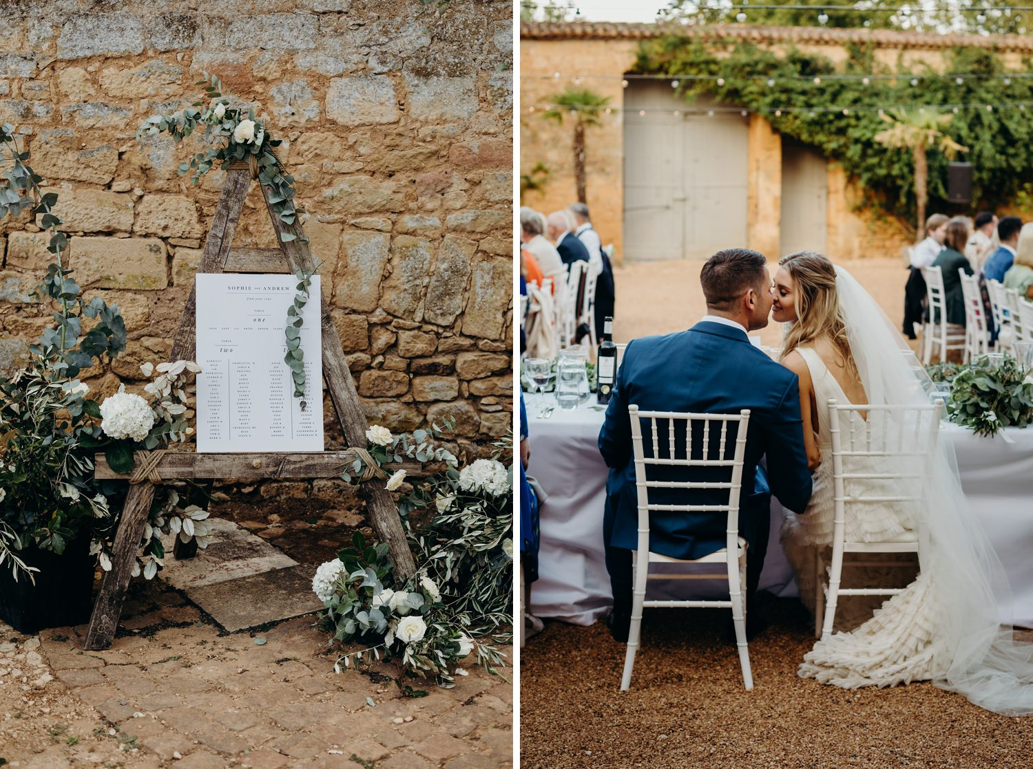 Bride and groom kiss at courtyard reception