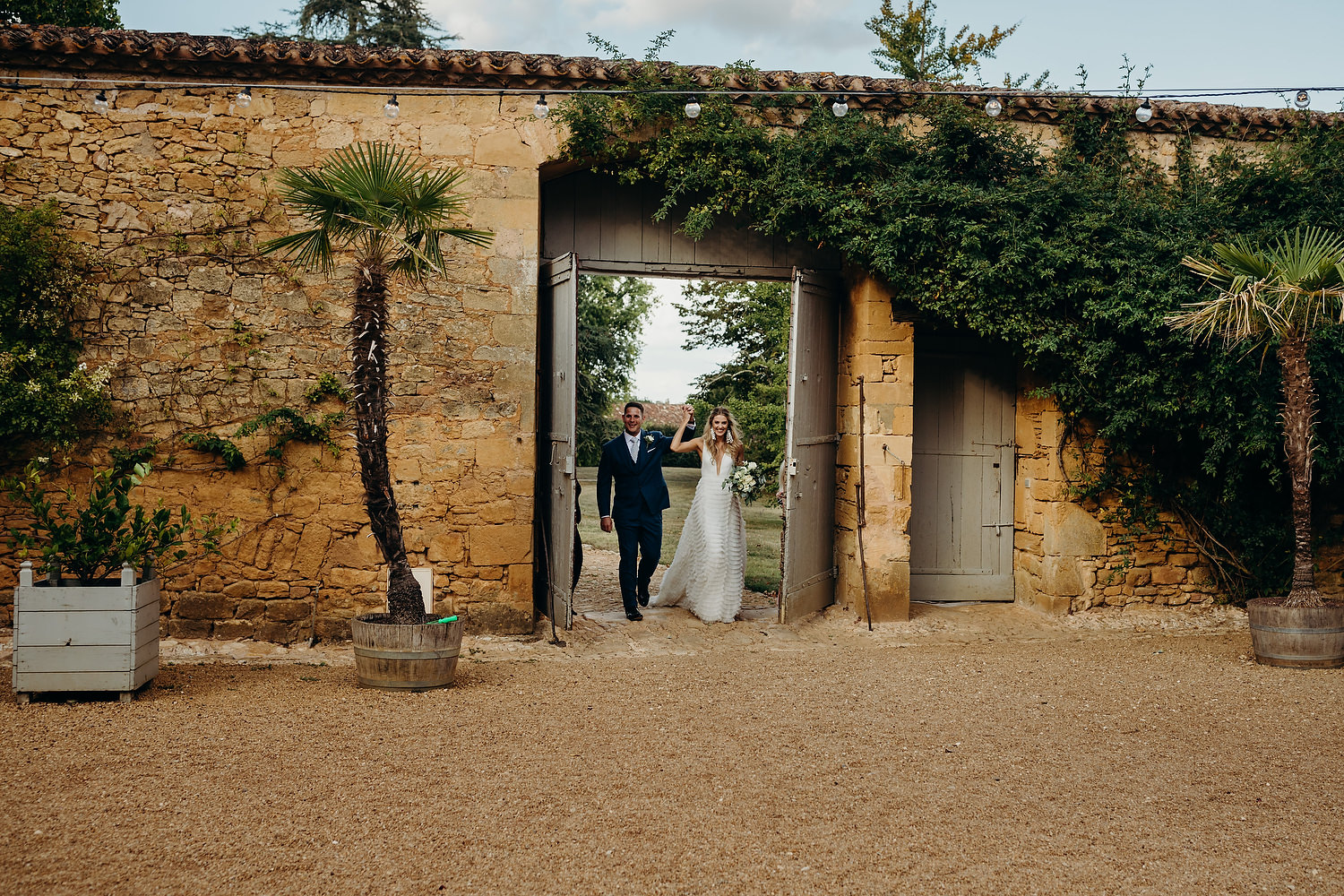 Bride and groom making entrance
