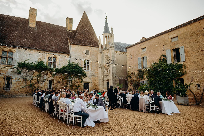 a chateau courtyard wedding reception