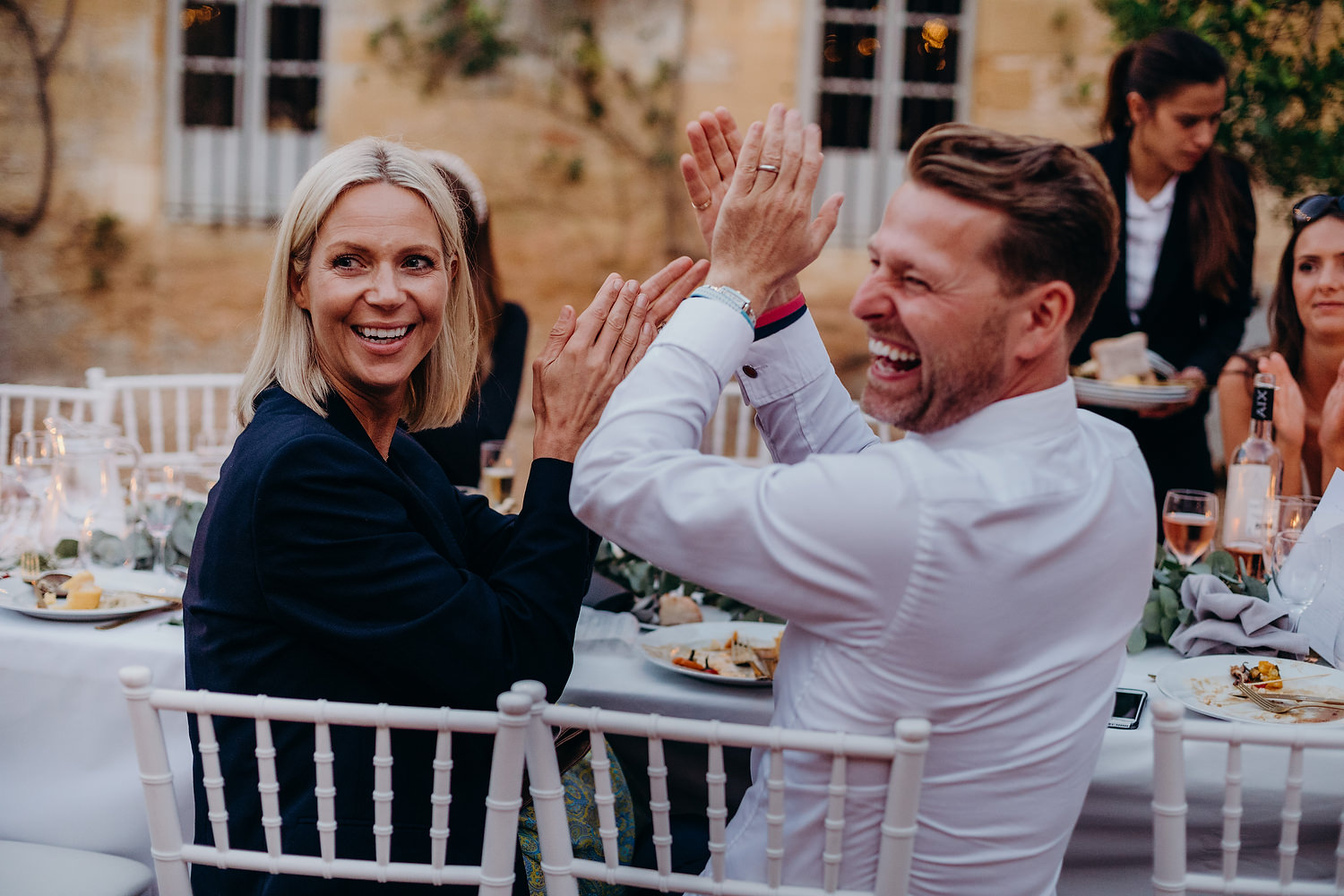 guests clapping during reception