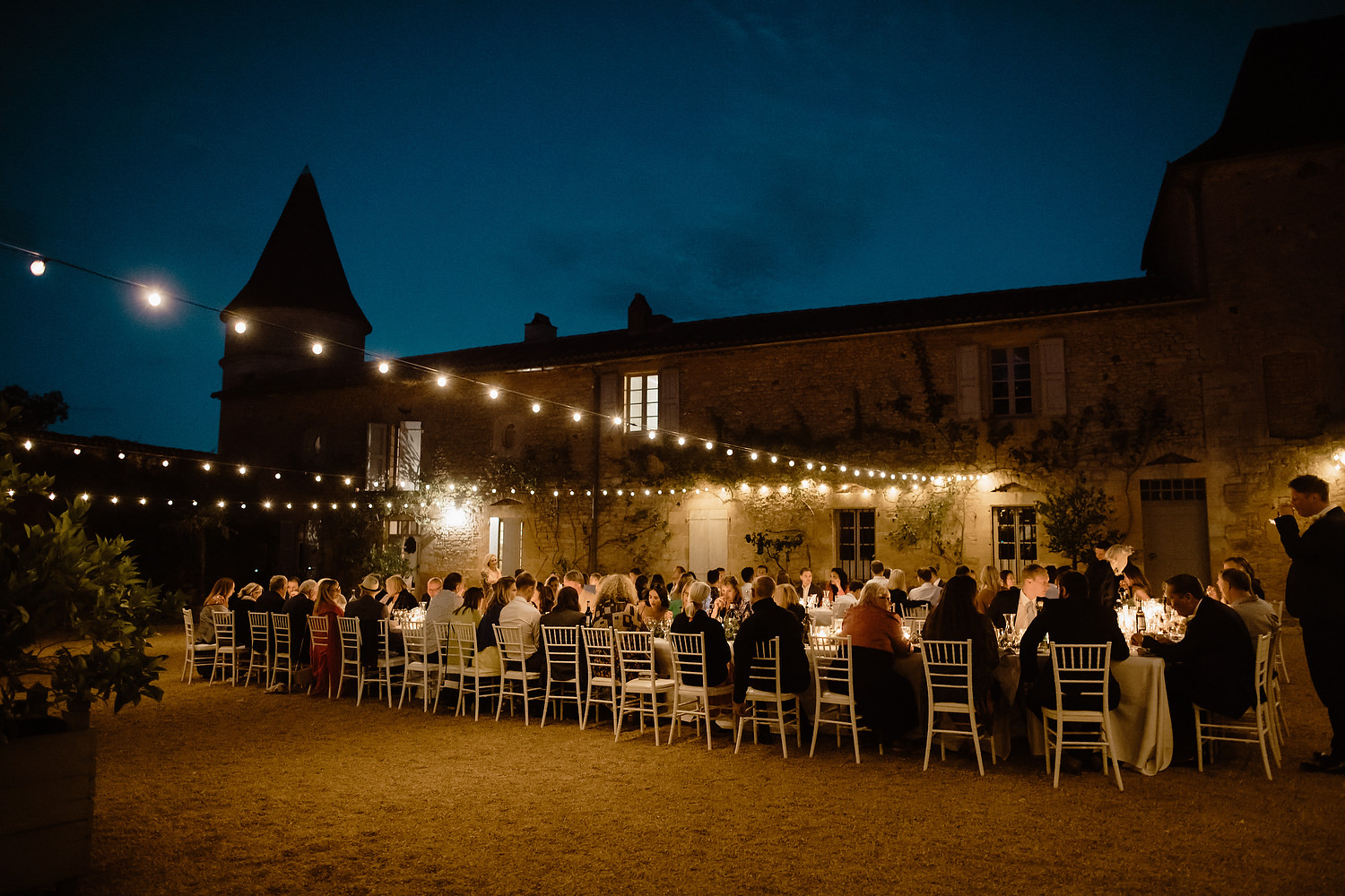 Chateau d'Urval courtyard at night