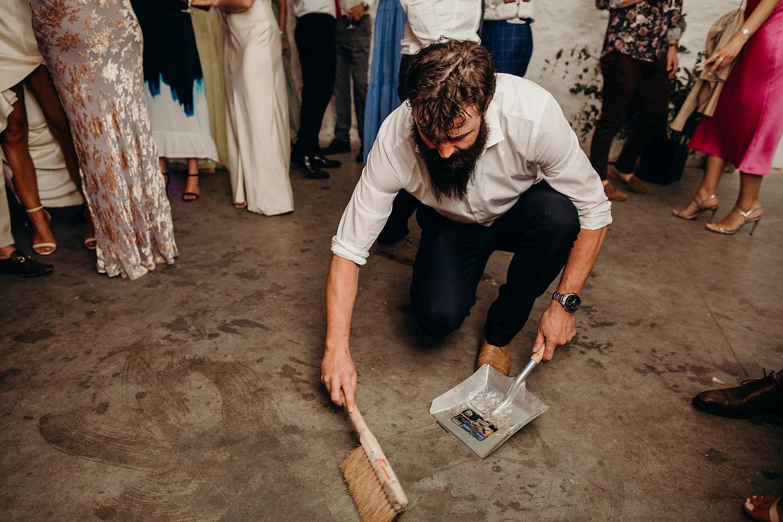 usher cleaning the dancefloor