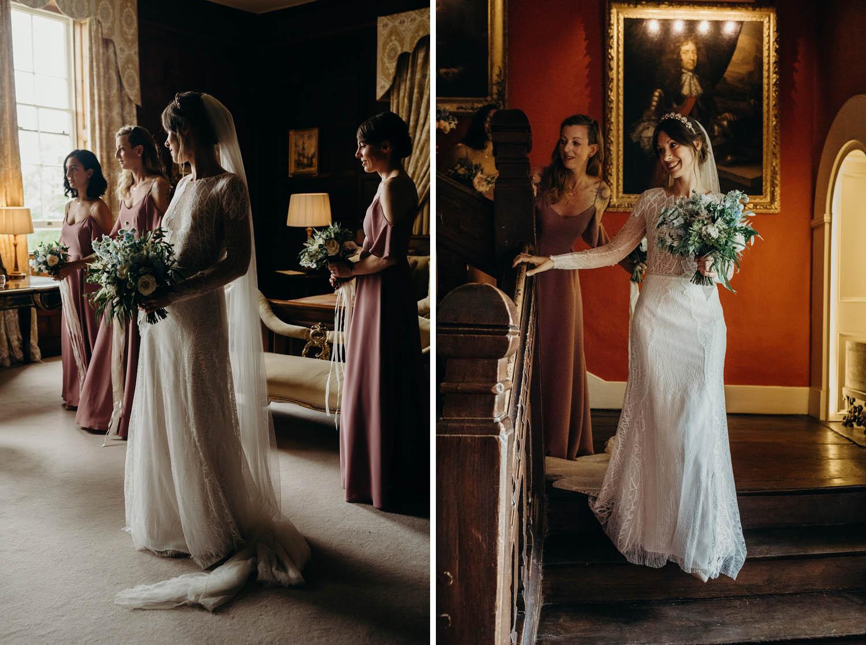 bride walking down stairs at Elmore