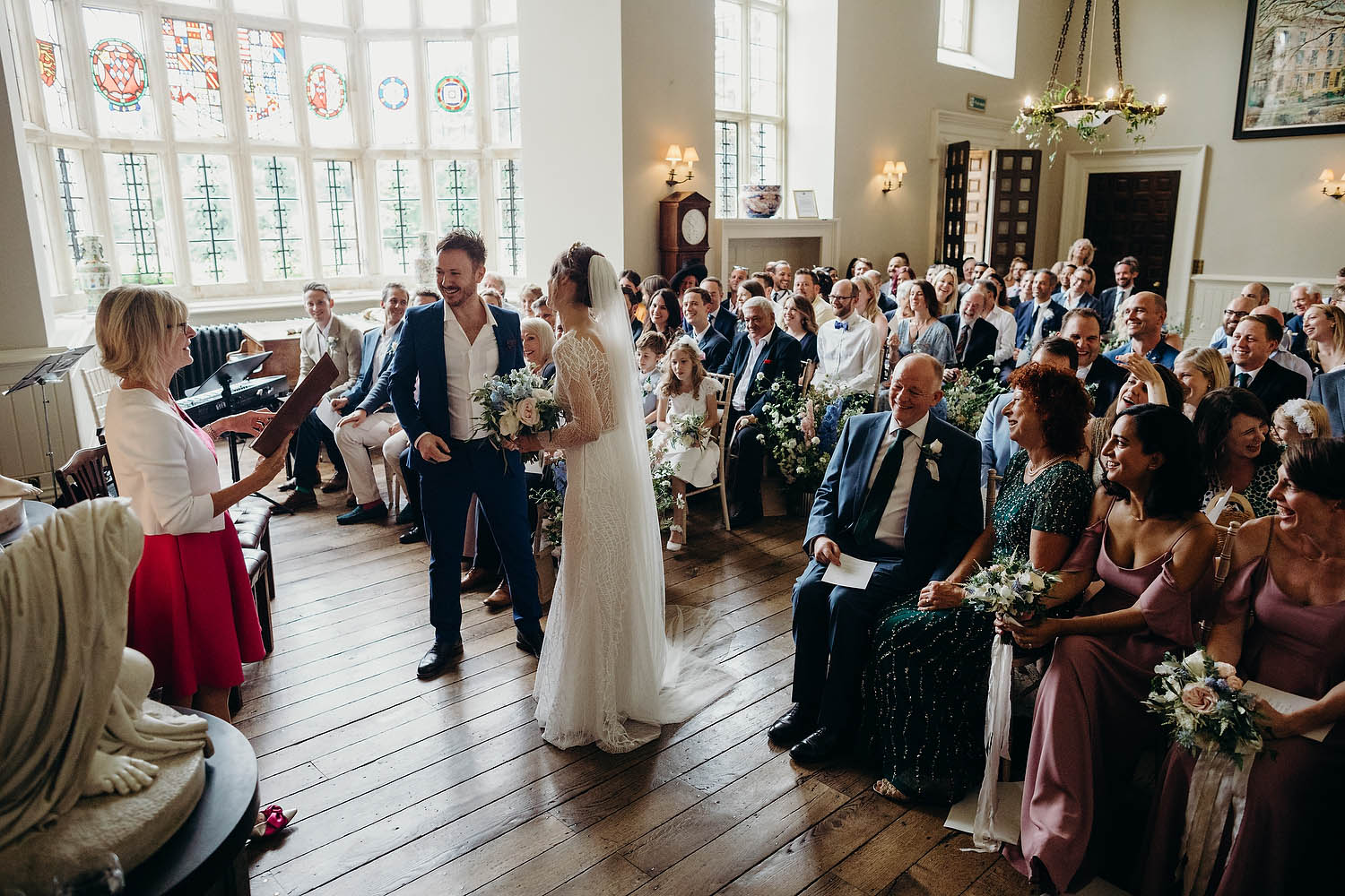 Bride and groom at Elmore Court wedding