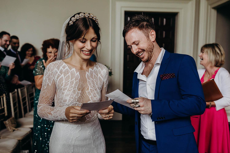 Bride and groom sing