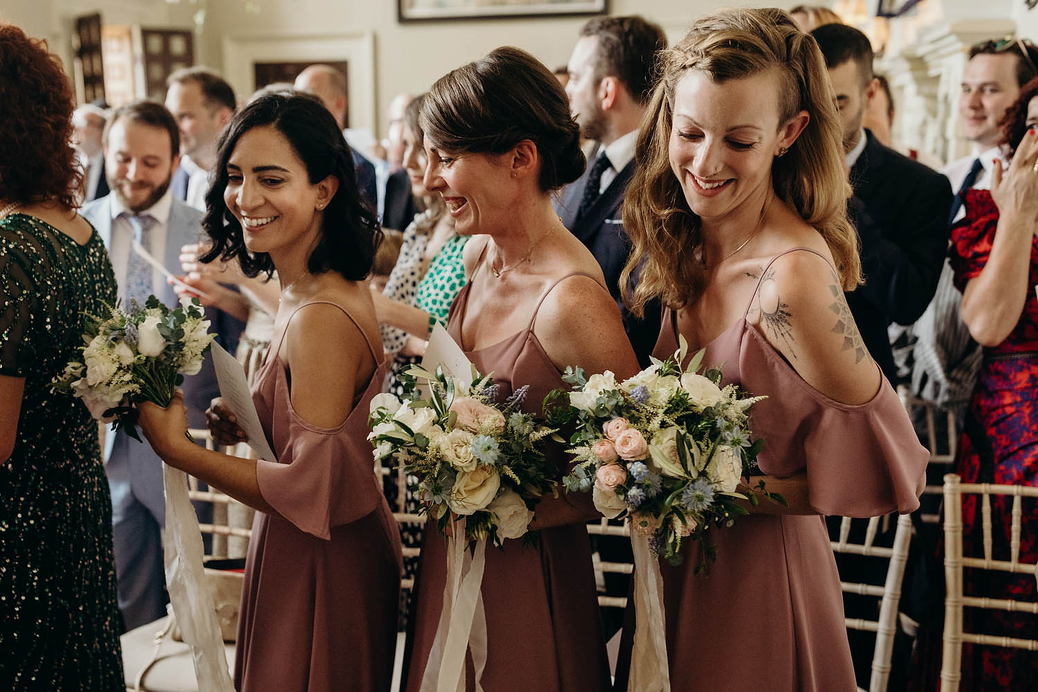 bridesmaids dancing during ceremony