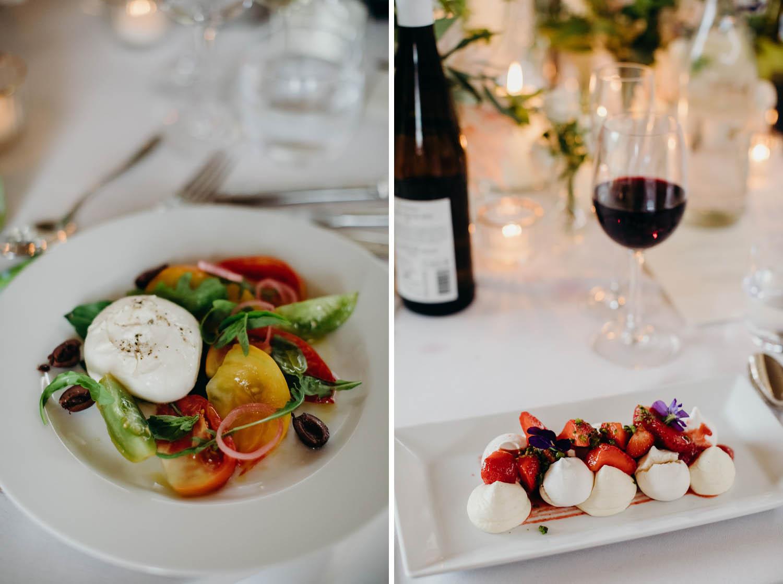 starter and dessert at wedding