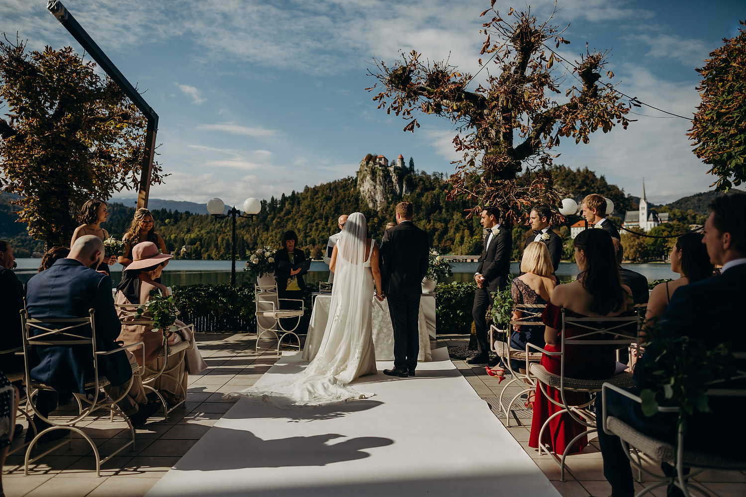 views of Bled castle at wedding ceremony
