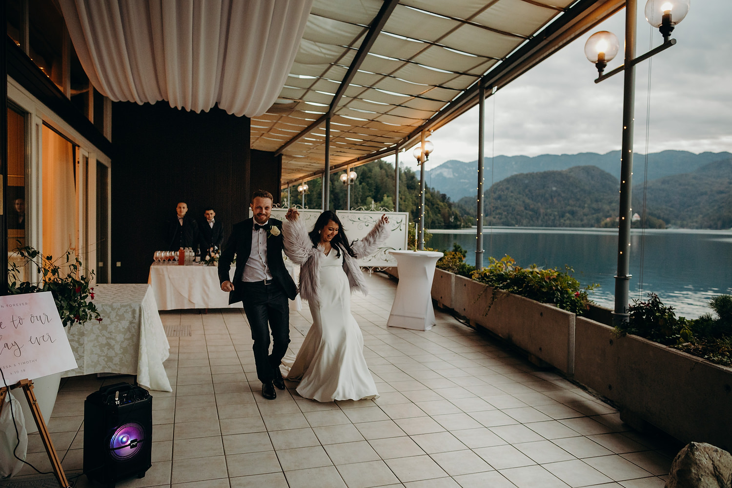 bride and groom entrance at lake bled wedding