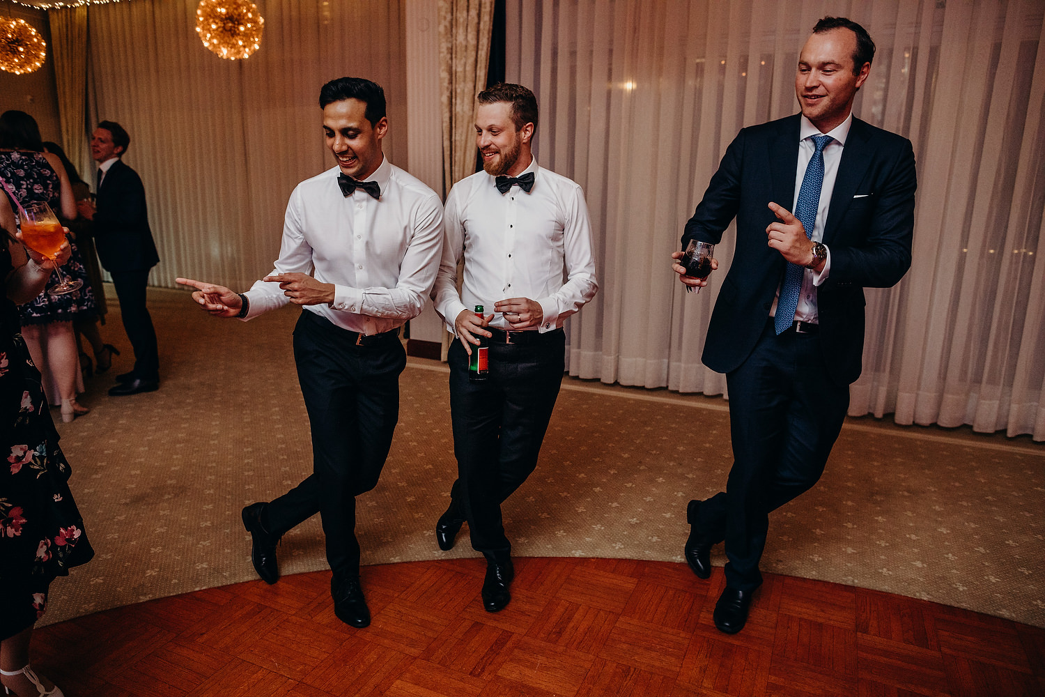 guys dancing at wedding