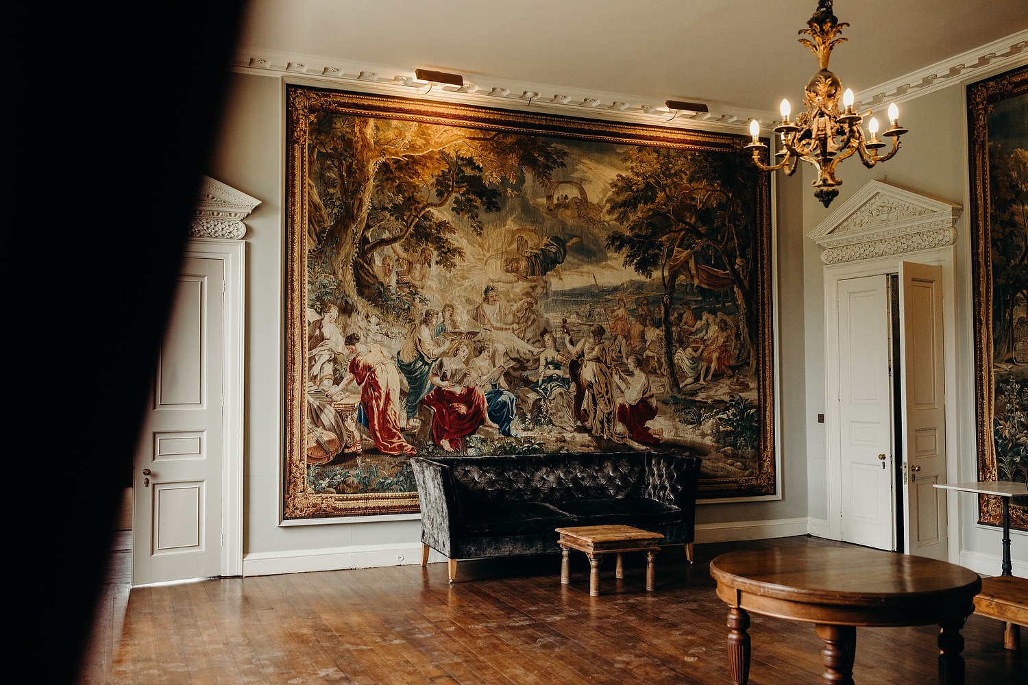 Large mural on wall of grand house
