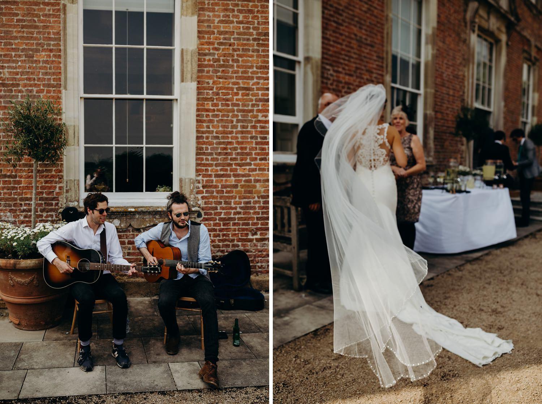 brides veil blowing in wind