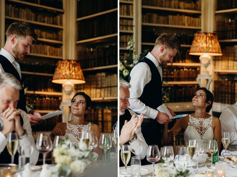 bride looking lovingly at groom