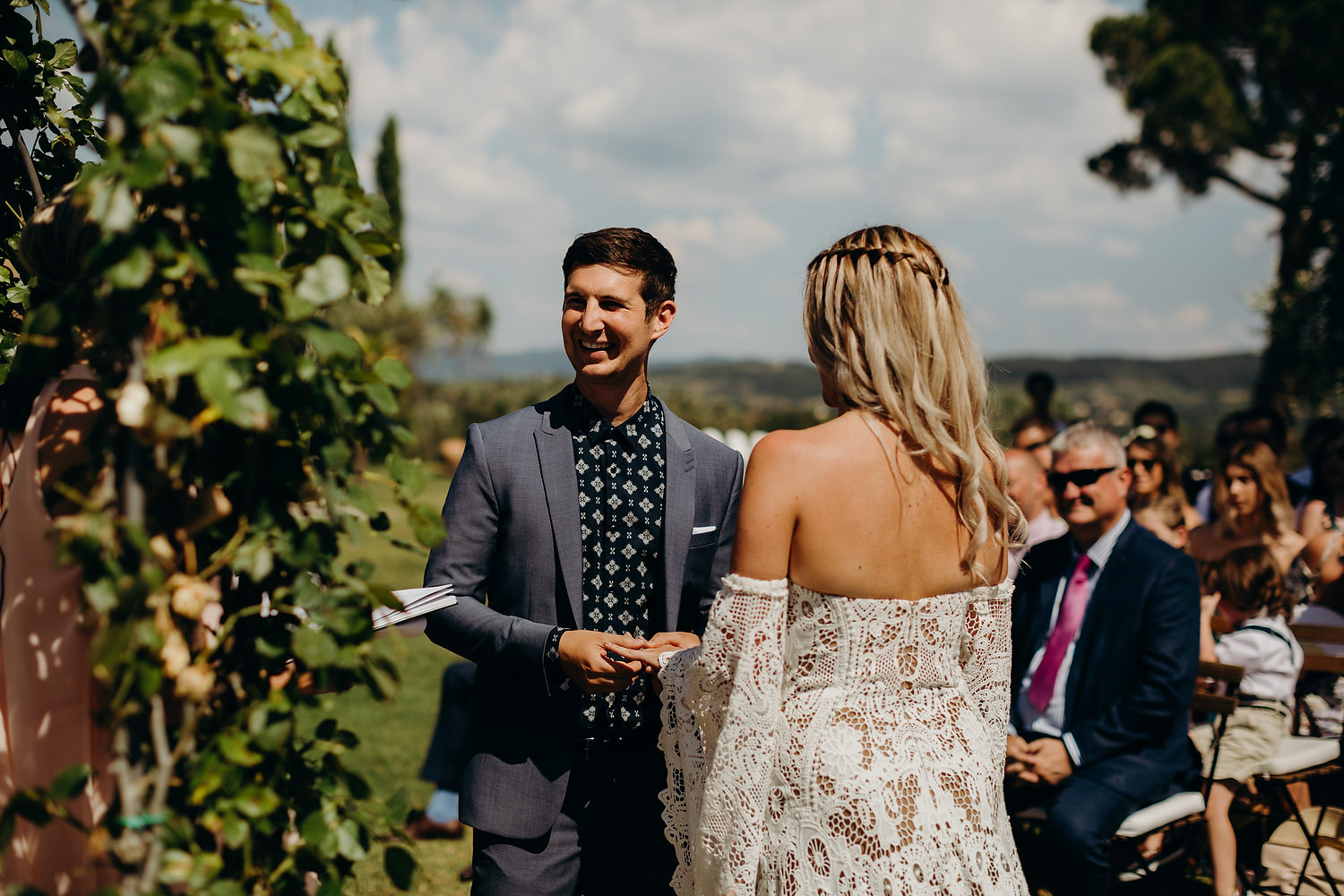 Groom says his vows during ceremony