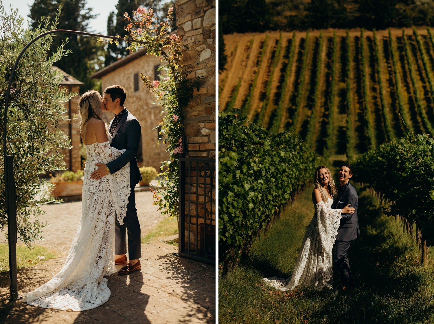 Bride and groom down vineyard grapevines