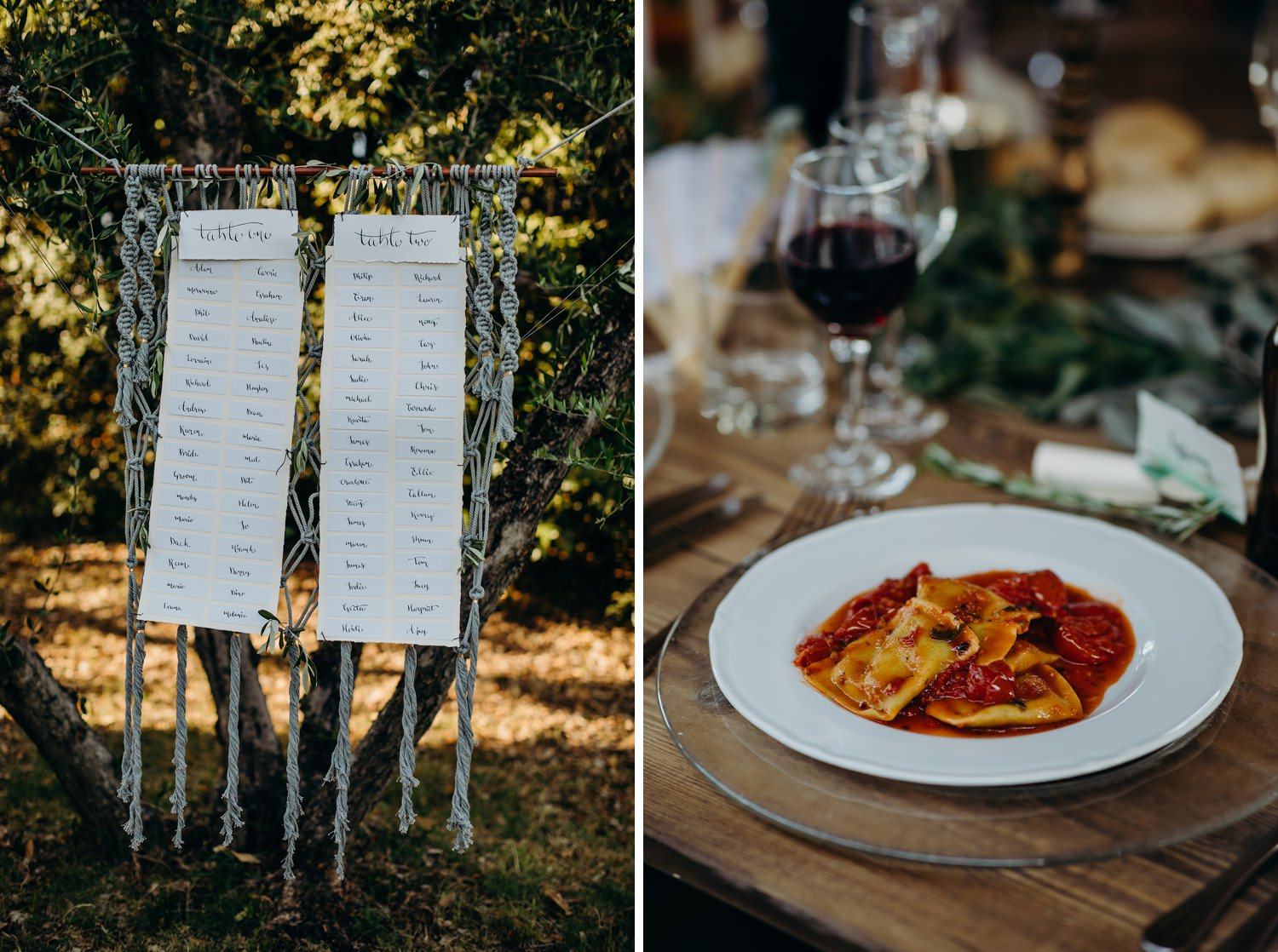 Wedding table plan and Ravioli