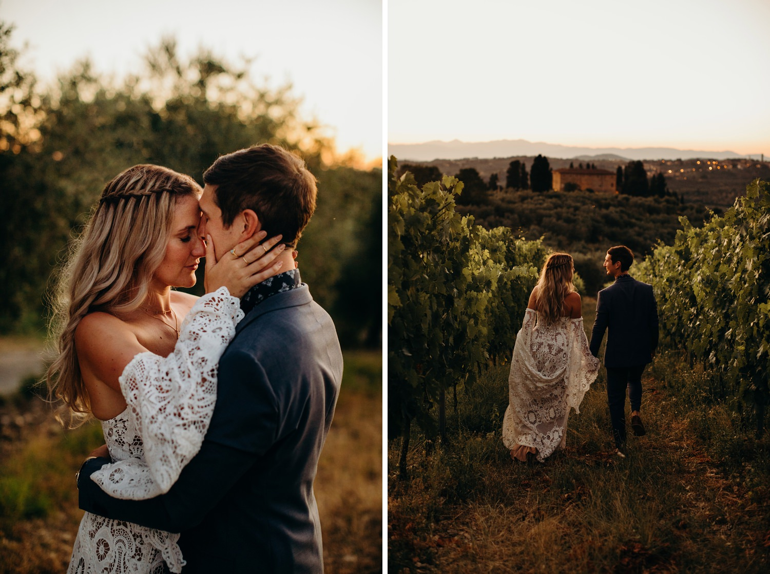 Italian Vineyard wedding portraits