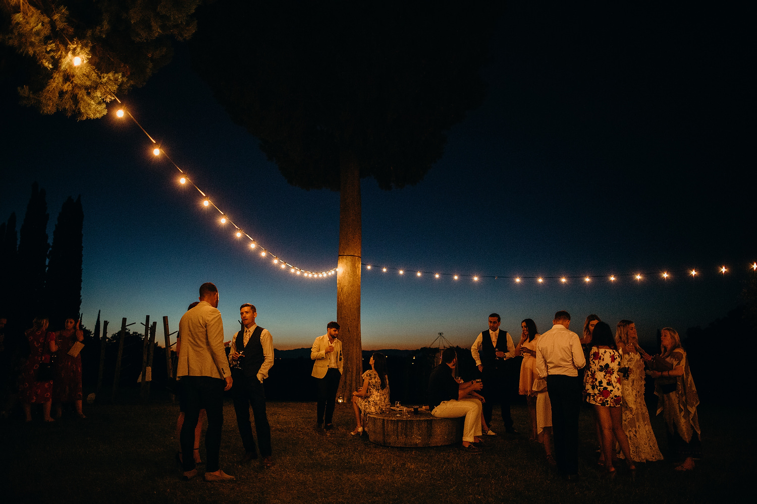 festoon lights at Tuscan Villa Wedding
